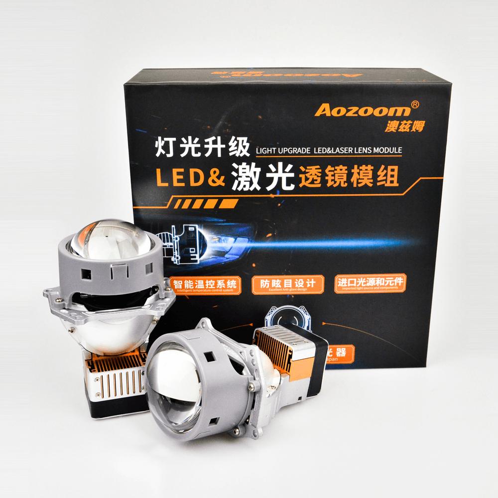 Aozoom 3-Inch Laser (High Beam) & Led (Low Beam) Projector Headlight Lens | 65Watt High Power